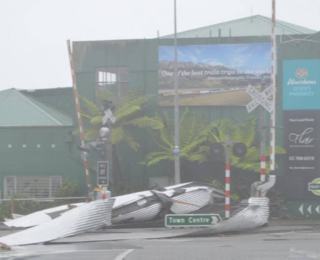 Revingtons Hotel, in Greymouth, lost its roof during the storm. Photo: Greymouth Star
