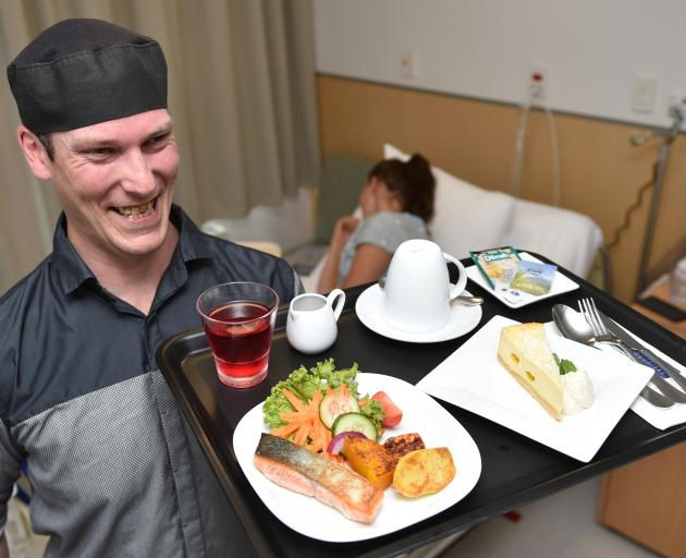 Mercy Hospital's Heath Futter prepares for the its new room service menu, which will be launched on Monday. Photo: Gregor Richardson