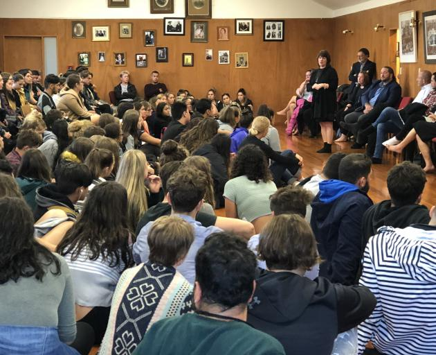 First-year students squeeze into Puketeraki Marae yesterday for a welcoming University of Otago...