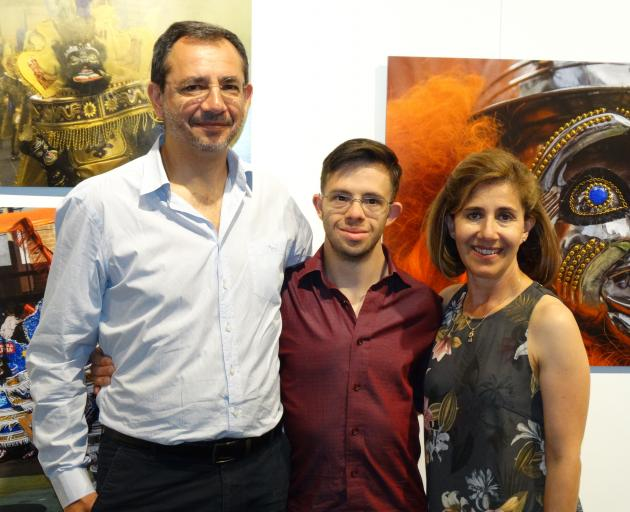 Dunedin artist Carlos Biggemann (middle), pictured with his parents Sergio and Alicia, opened his...