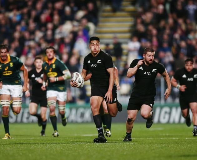 Rieko Ioane makes a break for the All Blacks against South Africa, something that could happening...