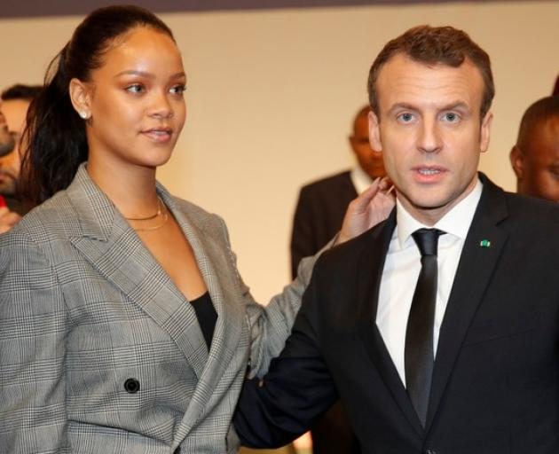 "French President Emmanuel Macron and singer Rihanna attend the ""GPE Financing Conference, an Investment in the Future"" organised by the Global Partnership for Education in Dakar. Photo: Reuters"