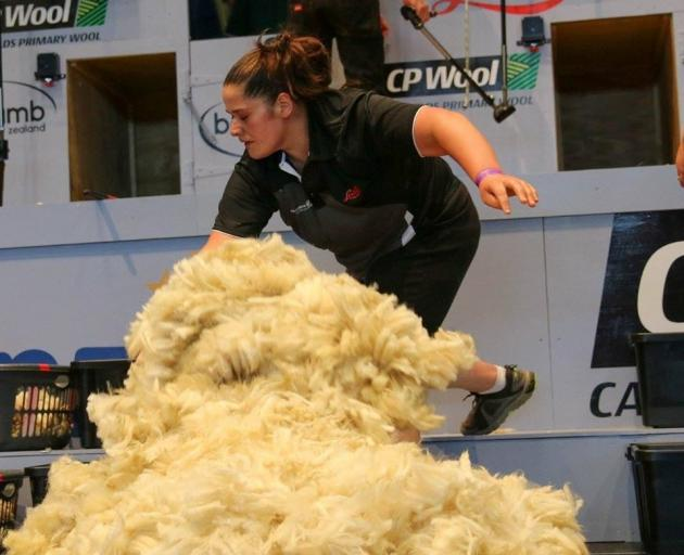 Cheri Peterson, who had her first Open-class woolhandling win on Friday at the Southern Shears in Gore, pictured at an earlier event. Photo / Barbara Newton