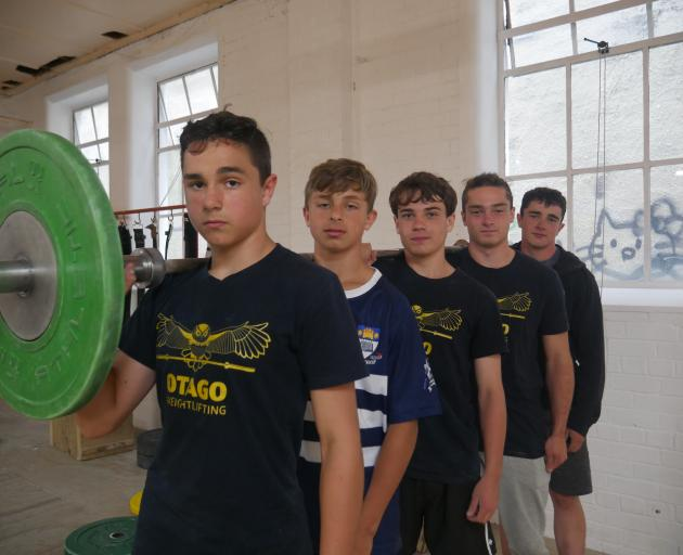 Brothers (from left) Torin (13), Lochlan (13), Shea (15), Connell (16) and Owen (18) Webb train at Otago Weightlifting Association. PHOTO: JESSICA WILSON