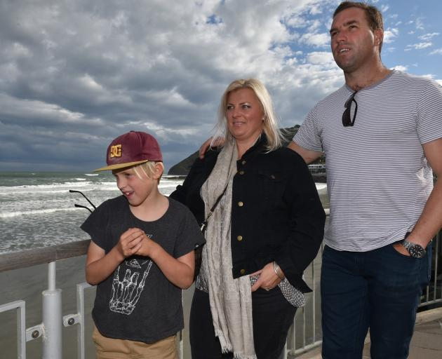 Will (9), Kristie and Tom Macaulay at one of their favourite Dunedin hangouts, St Clair Esplanade. Photo: Gregor Richardson