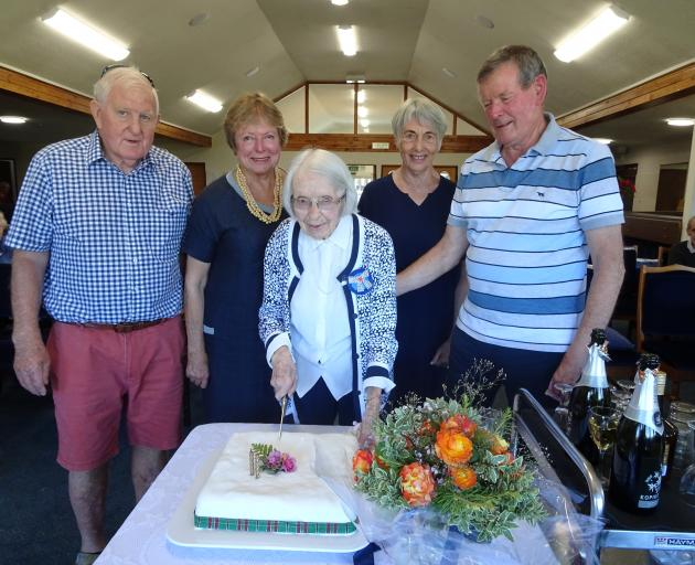 Molly Brown (centre) celebrates her 102nd birthday with her family (from left) son-in-law Ken Grant, daughter Marie Grant, daughter-in-law Carol Brown and son Graham Brown at Brooklands Village rest-home in Mosgiel last week. Photo: Supplied