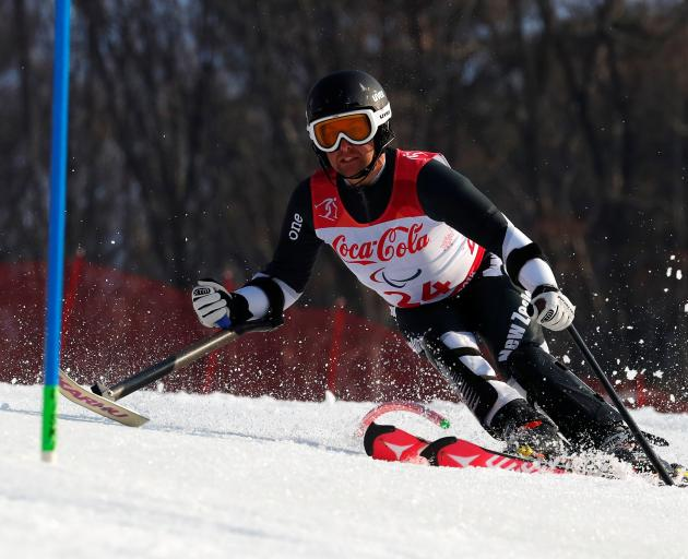 Otago skier Adam Hall on his bronze-medal winning run in the men's super combined slalom (standing) at the PyeongChang Paralympic Winter Games yesterday. Photo: Reuters