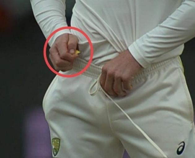 Cameron Bancroft was summoned for a chat to the umpires after footage showed him with a small...