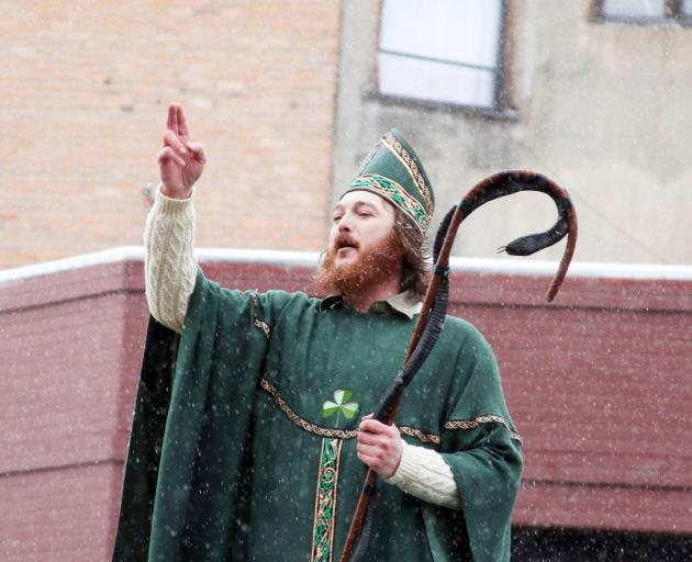 St Patrick makes an appearance during the annual parade. Photo: Gwyneth Hyndman
