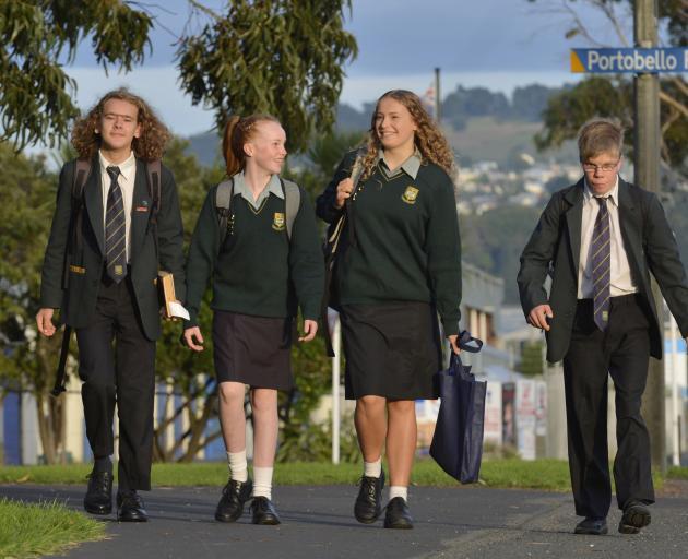 Bayfield High School pupils (from left) Chris Hawkins (16), Josephine Tarasiewicz (13), River...