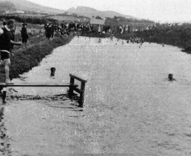 The new swimming pool recently opened at Clinton - length, 175 feet, deep end, 10 feet. - Otago Witness, 13.3.1918.