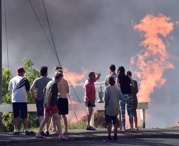 Flames erupt from January's Burnside blaze.