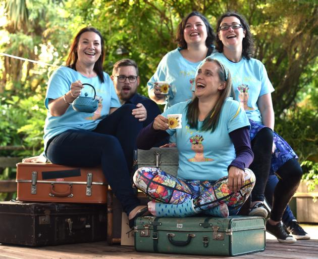 Suitcase Theatre members (from left) Laura Wells, Vincent Batt, Sofie Welvaert (front), Gabby Golding and Kimberley Buchan, who performed Mental Notes during the Dunedin Fringe Festival. Photo: Peter McIntosh
