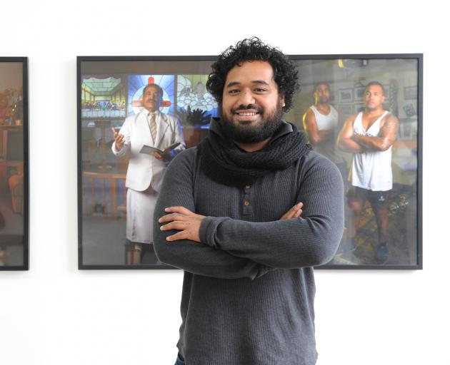 Pati Solomona Tyrell (25) at his Fringe exhibition Fagogo. PHOTO: CHRISTINE O'CONNOR