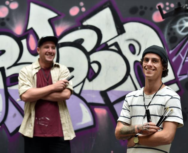 On the Fringes of Society event organiser Jonny Waters (left) and street artist James Butcher get...