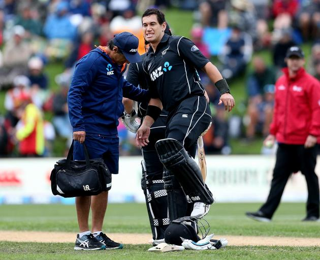 Ross Taylor of New Zealand showed significant discomfort during his match-winning innings of 181...