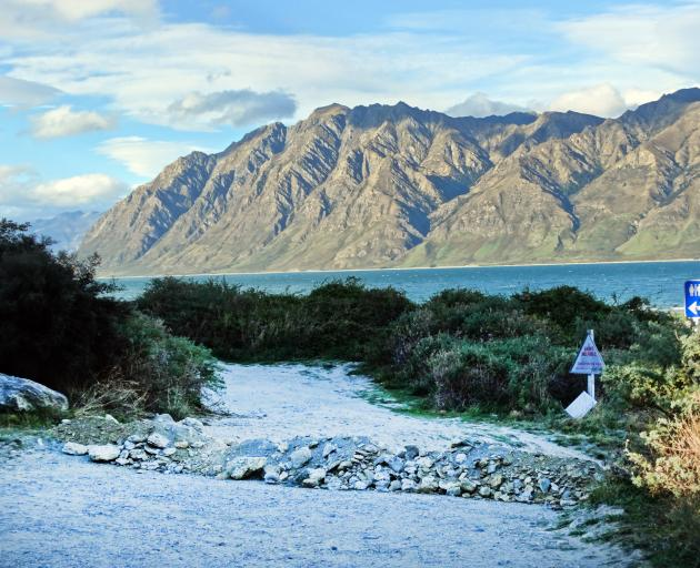 The entrance to a popular Lake Hawea freedom camping site was blocked by a pile of gravel and...