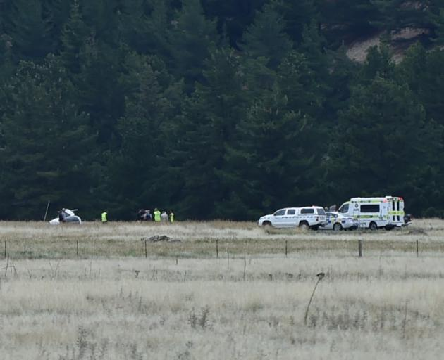 Police were called to the scene of a helicopter crash at 11.28am this morning. Photo: Gregor...