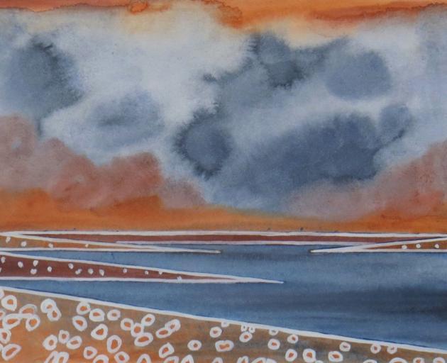 Summer Storm and Wildflowers, Lake Mahinerangi, by Marilynn Webb