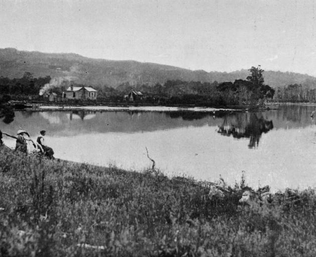 A calm day is enjoyed on the Catlins River, near Pounawea, Otago. - Otago Witness, 13.3.1918.