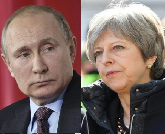 Russian President Vladimir Putin and British Prime Minister Theresa May. Photos: Reuters