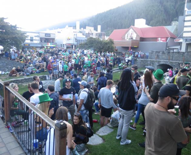 Hundreds of people swarmed to the Village Green in Queenstown to celebrate St Patrick's Day on...