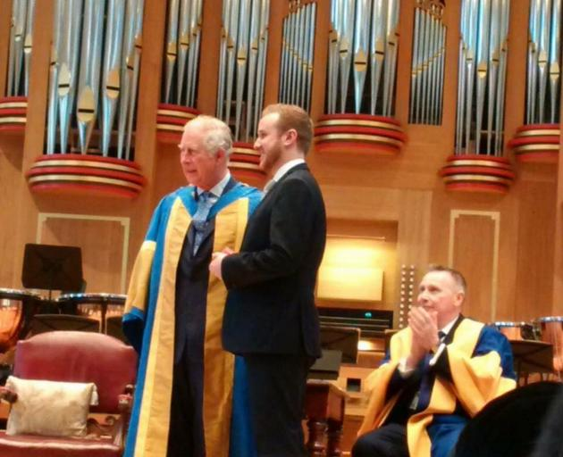 Former University of Otago music student Julien Van Mellaerts receives the Tagore Gold Medal from...