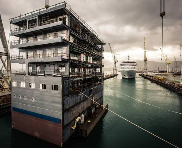 The new mid-section for the Silver Spirit cruise ship. Photo: NZ Herald / supplied