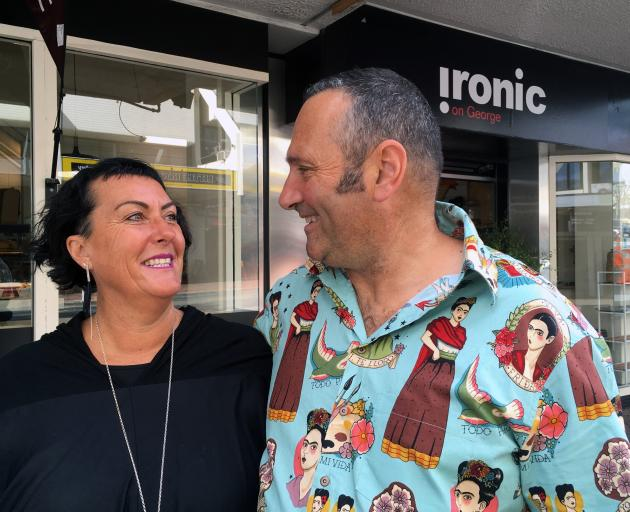 Ironic Cafe and Bar co-owners Sue Moller and Steve Wilson outside their new business venture in George St, near the Octagon. Photo: Shawn McAvinue
