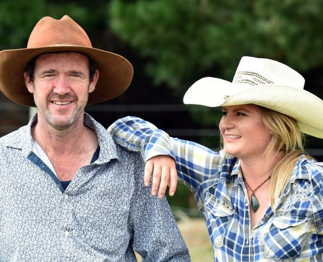 Nigel Cameron and kidney donor Tori Booth, from Balfour, during the Waikouaiti rodeo on Saturday. Photo: Peter McIntosh