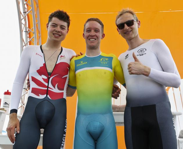 The Australians still have some work to do to make their Commonwealth Games cyclists' outfits a little more demure. Harry Tanfield (left) of England, and Kiwi Hamish Bond are probably relieved they don't have to wear the kind of revealing gear Cameron Mey