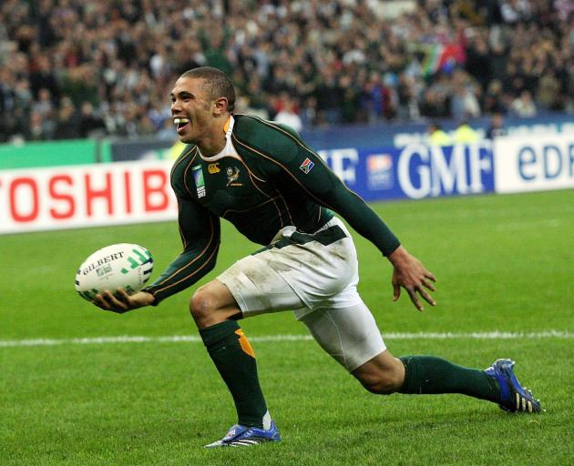 Bryan Habana celebrates the second of two tries for the Springboks in a famous performance...