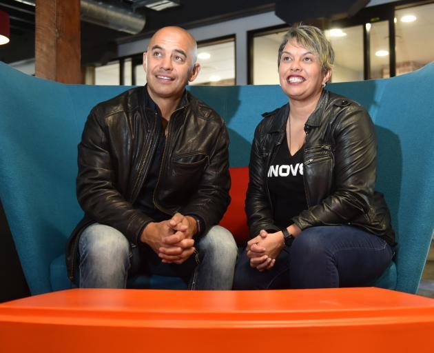 Steven and Heidi Renata catch up at Innov8HQ in Dunedin this week. Photo: Gregor Richardson