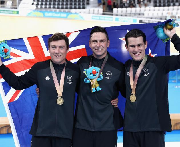 Gold Coast Commonwealth Games track cyclists (from left) Sam Webster, Eddie Dawkins and Ethan...