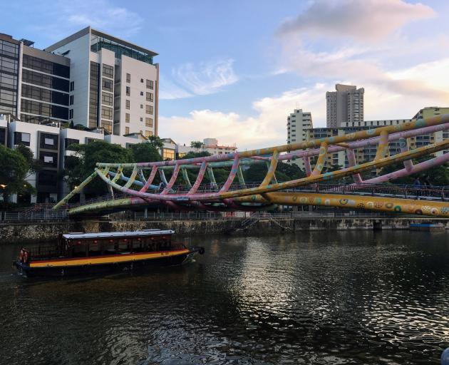 The Alkaff Bridge over the Singapore River.