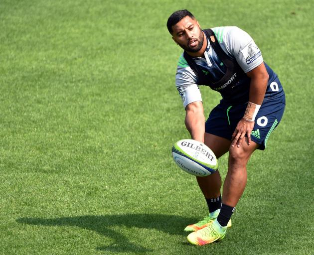Highlanders first five-eighth Lima Sopoaga at training yesterday. Photo: Peter McIntosh.