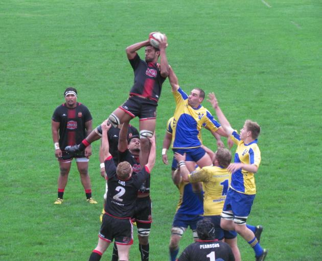 Old Boys and Valley players contest a lineout during the Citizens Shield game in Oamaru today....