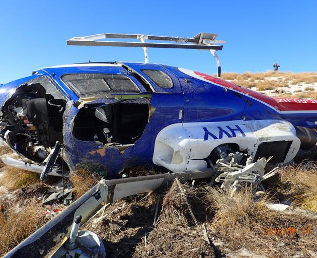The Helicopter Line's aircraft was significantly damaged in the September 2016 crash. PHOTO: TAIC...
