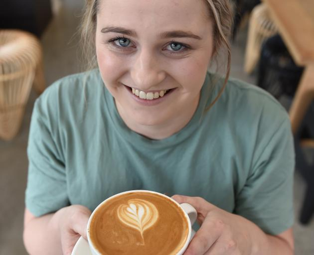 Renee Hewson (21), from Balclutha, keeps the coffee flowing at Fluid in Dunedin. Photo: Gregor...