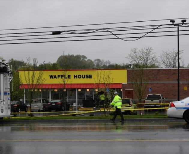 Metro Davidson County Police at the scene of a fatal shooting at a Waffle House restaurant near Nashville, Tennessee. Photo: Reuters