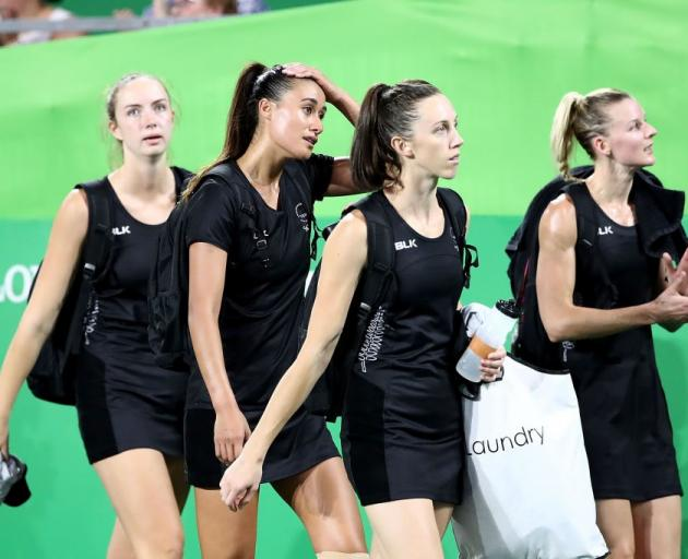 Silver Ferns' Kelly Jury, Maria Folau, Bailey Mes and Katrina Grant leave the stadium after their...