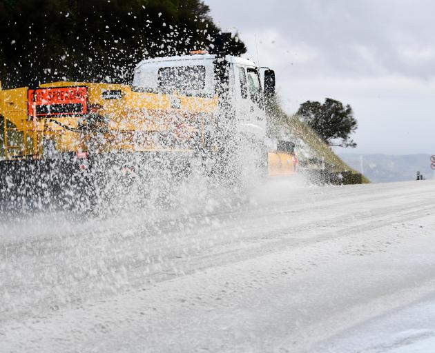 I might have been keen to see the end of the hot weather, but the last couple of days have been ridiculous. This snow-plough driver was hard at work at the top of the Dunedin-Waitati highway on Tuesday morning. Photo: Stephen Jaquiery