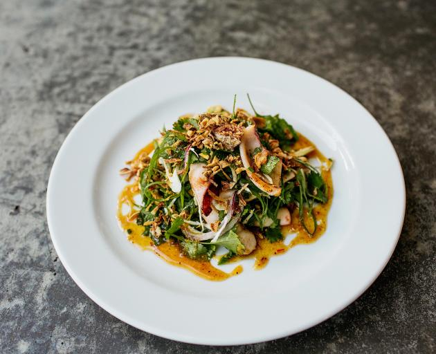 Seared squid with tamarind and roast peanuts.