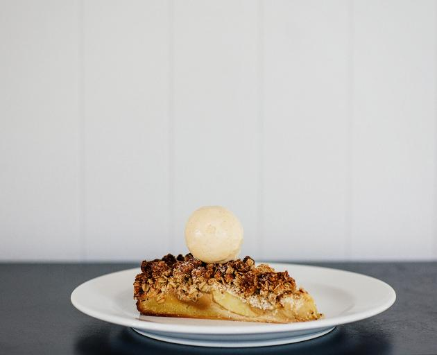 Toffee apple crumble cake.