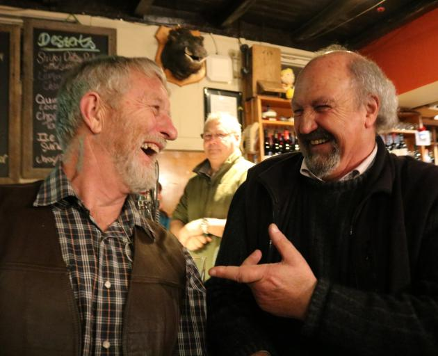 Maniototo Bards, Ballards and Bulldust organiser Roger Lusby (left) and visitor Mike Garland...
