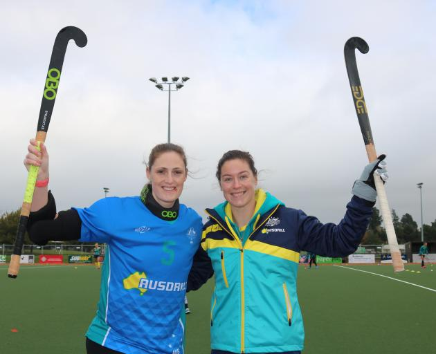 Australian national women's hockey team members Ashlee Wells and Karri McMahon get ready for the Tri Nations tournament in Cromwell. Photo: Tom Kitchin