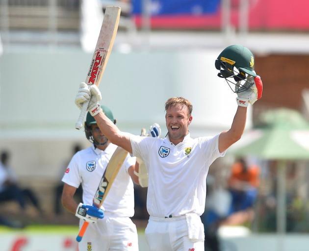 AB de Villiers celebrates one of his 22 test centuries. Photo: Getty Images
