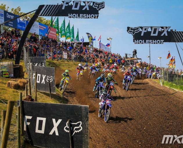 Courtney Duncan on her way to maximum points in the latest round of the women's world motocross...