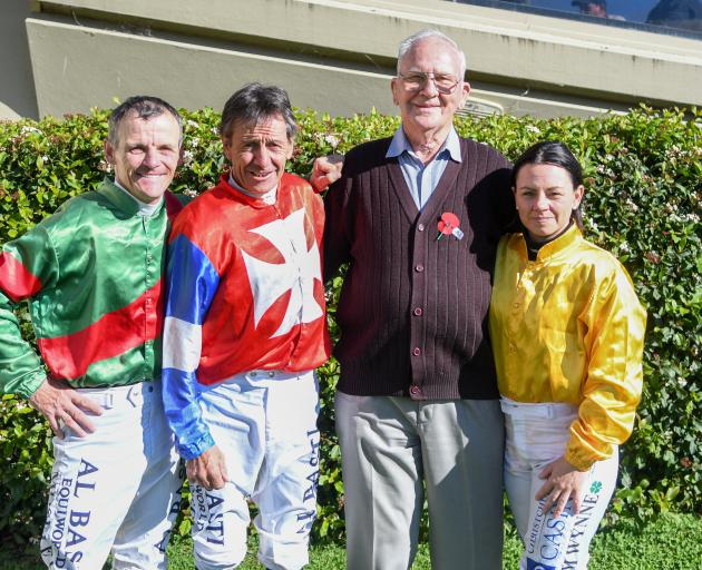 Jockeys Terry Moseley, Chris Johnson and Samantha Wynne with longtime Wingatui race day official Jack McLeod. Photo: Wild Range Photography