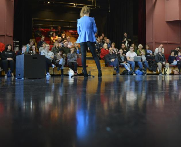 Sarah Latta speaks at a meeting at Allen Hall about the closure of the Fortune Theatre. Photos: Gerard O'Brien